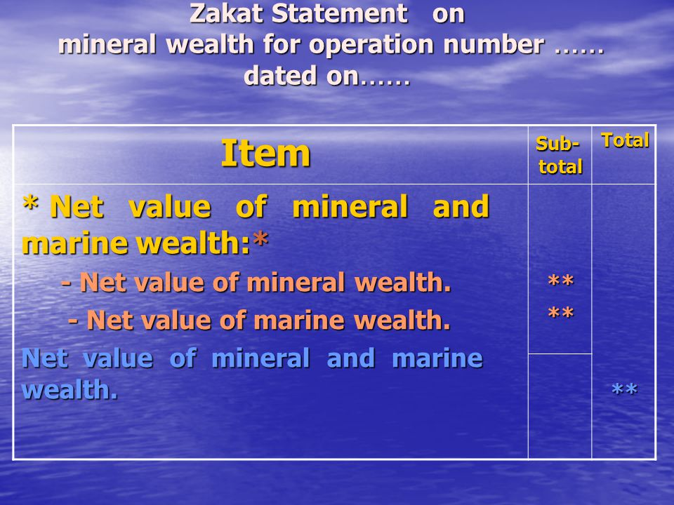 Zakat Statement on mineral wealth for operation number …… dated on……