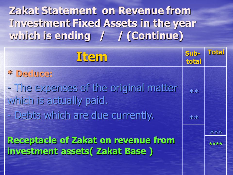 Zakat Statement on Revenue from Investment Fixed Assets in the year which is ending / / (Continue)