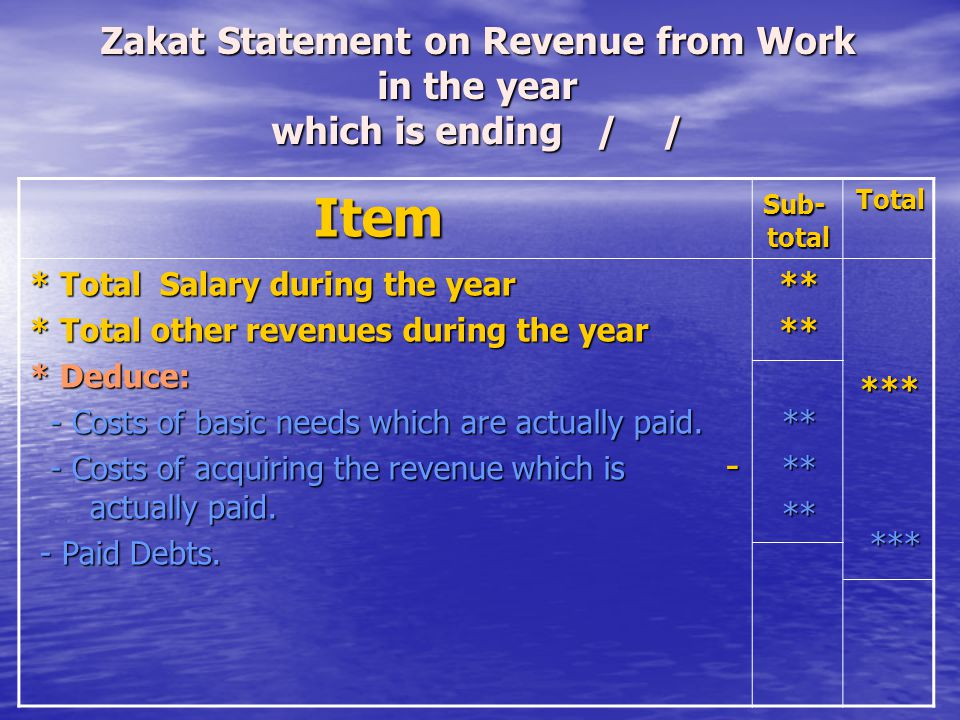 Zakat Statement on Revenue from Work in the year which is ending / /