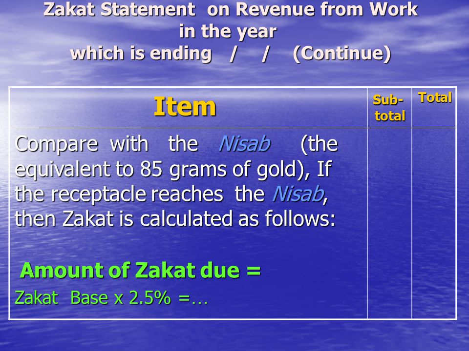 Zakat Statement on Revenue from Work in the year which is ending / / (Continue)