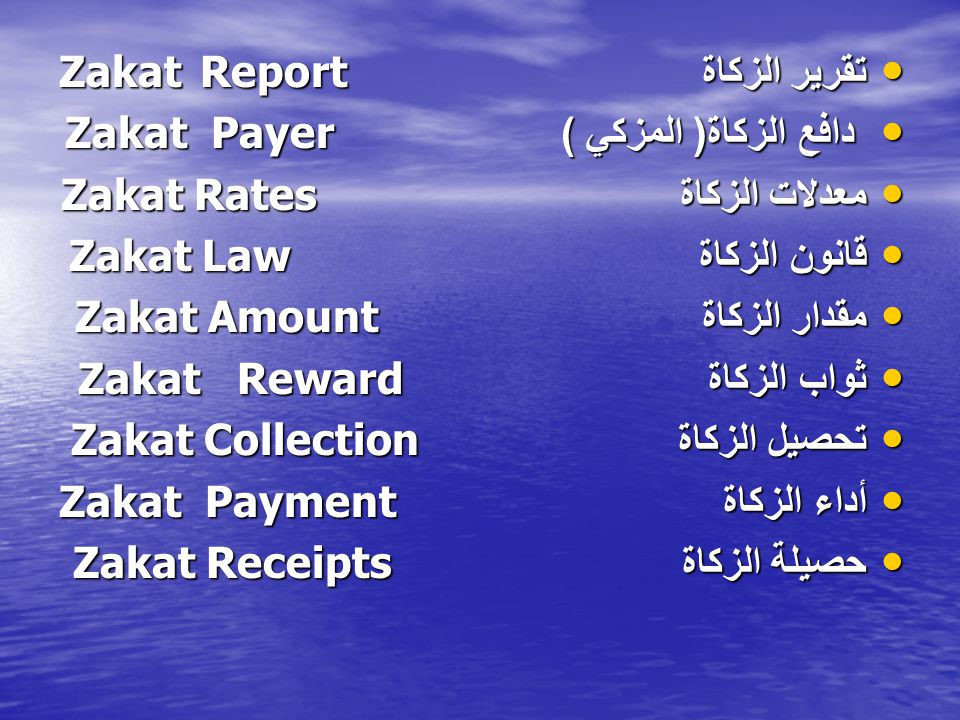 تقرير الزكاة Zakat Report
