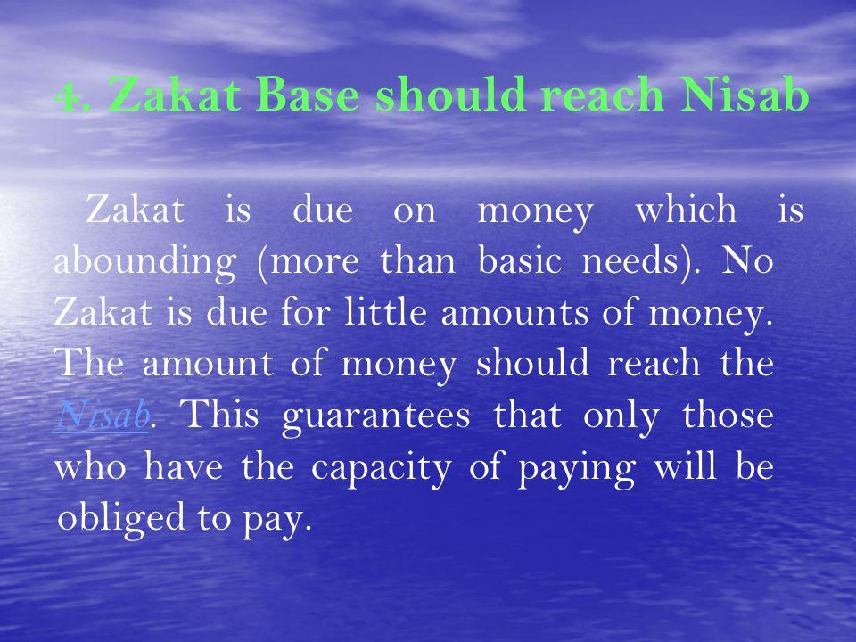 4. Zakat Base should reach Nisab