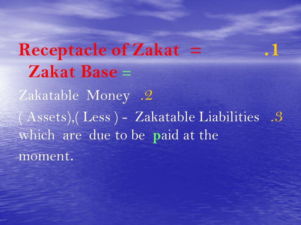 Receptacle of Zakat = Zakat Base =