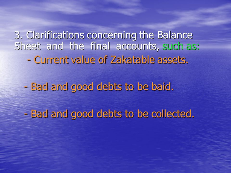 3. Clarifications concerning the Balance Sheet and the final accounts, such as:
