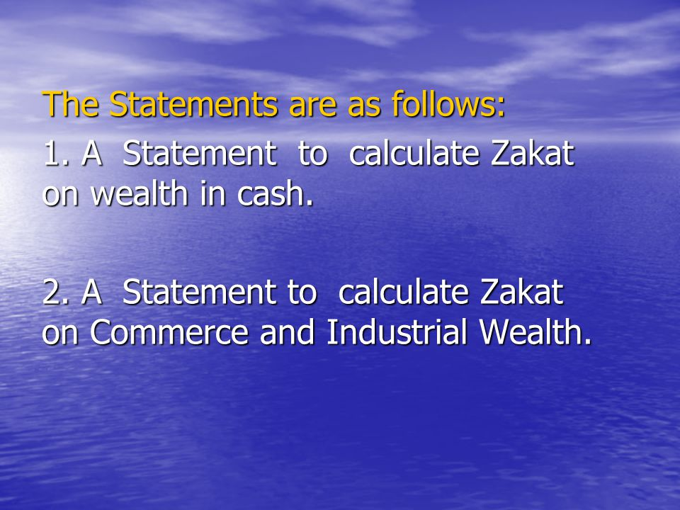 The Statements are as follows: