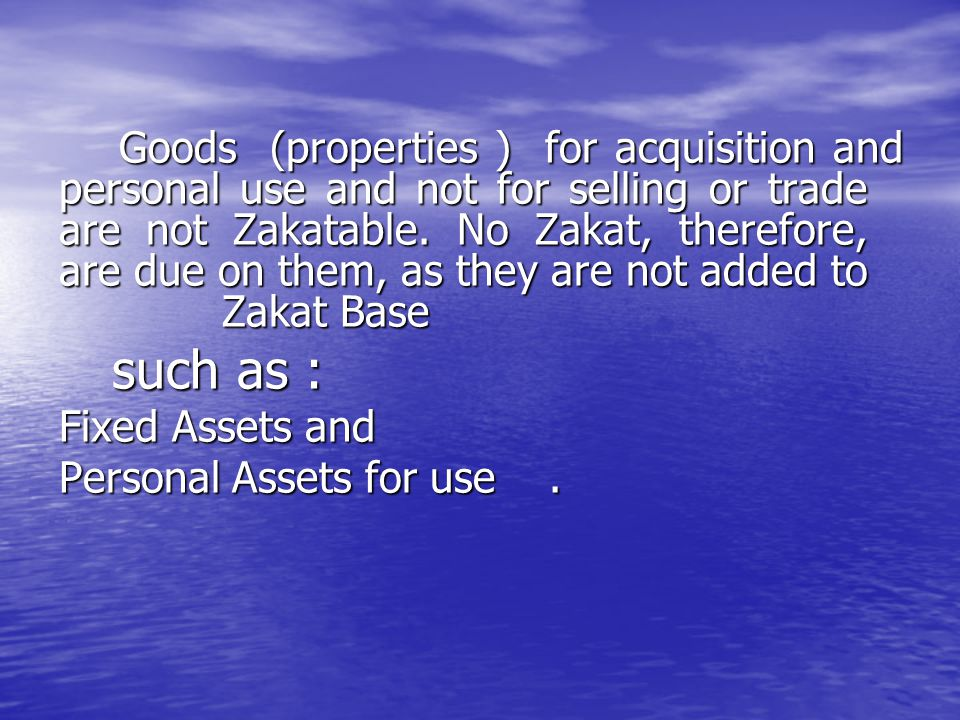 Personal Assets for use .