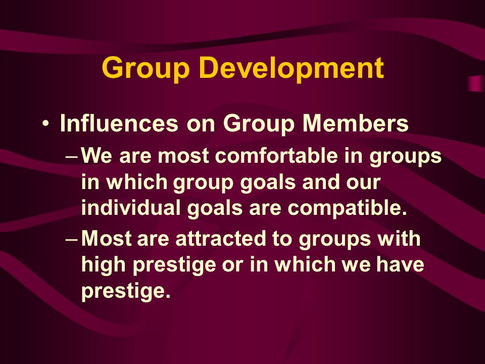 Group Development Influences on Group Members