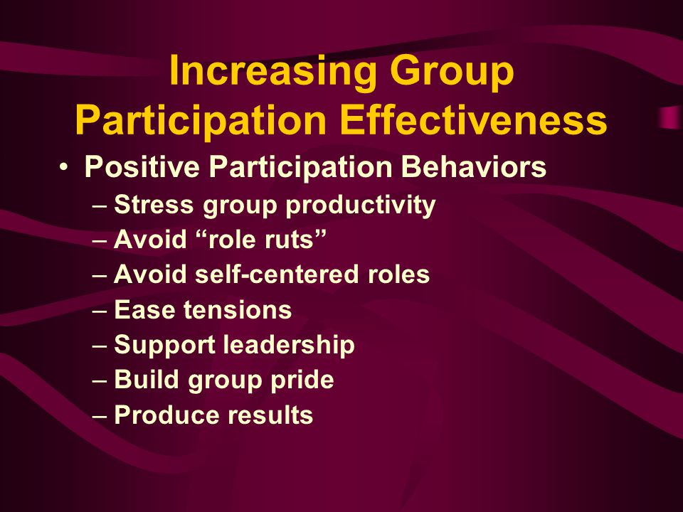 Increasing Group Participation Effectiveness