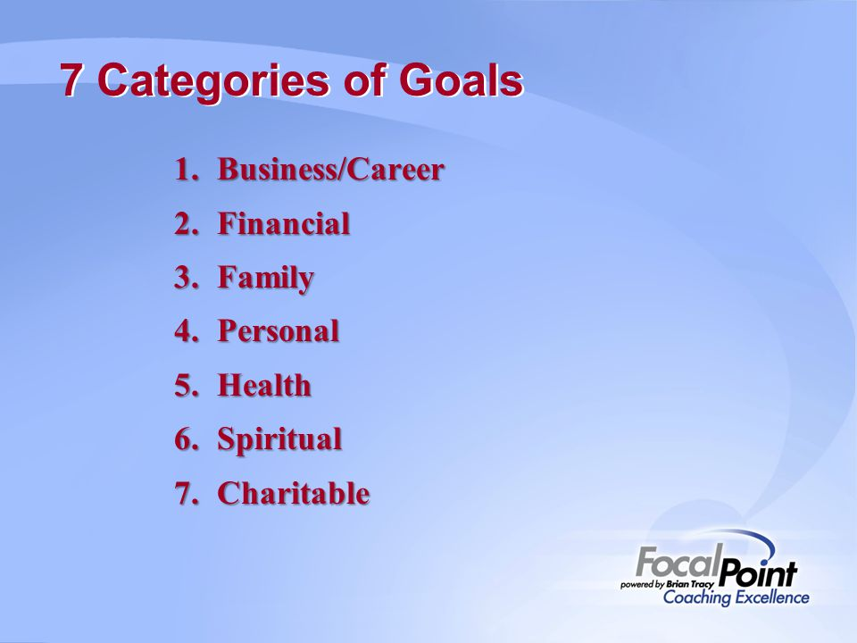 7 Categories of Goals Business/Career Financial Family Personal Health