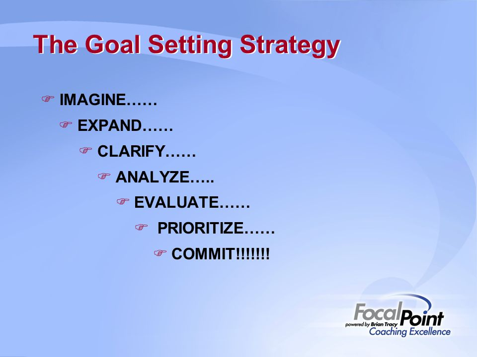 The Goal Setting Strategy