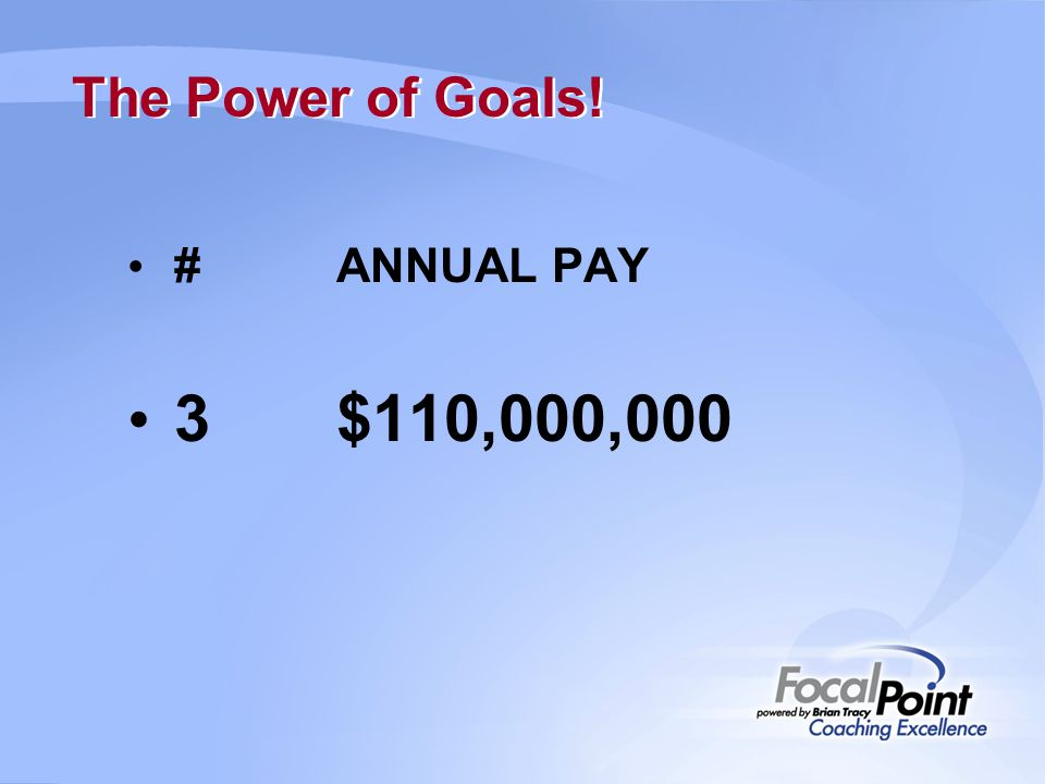 3 $110,000,000 The Power of Goals! # ANNUAL PAY