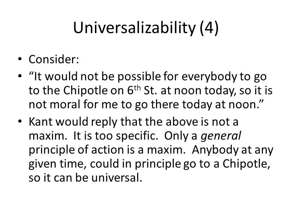 Universalizability (4)