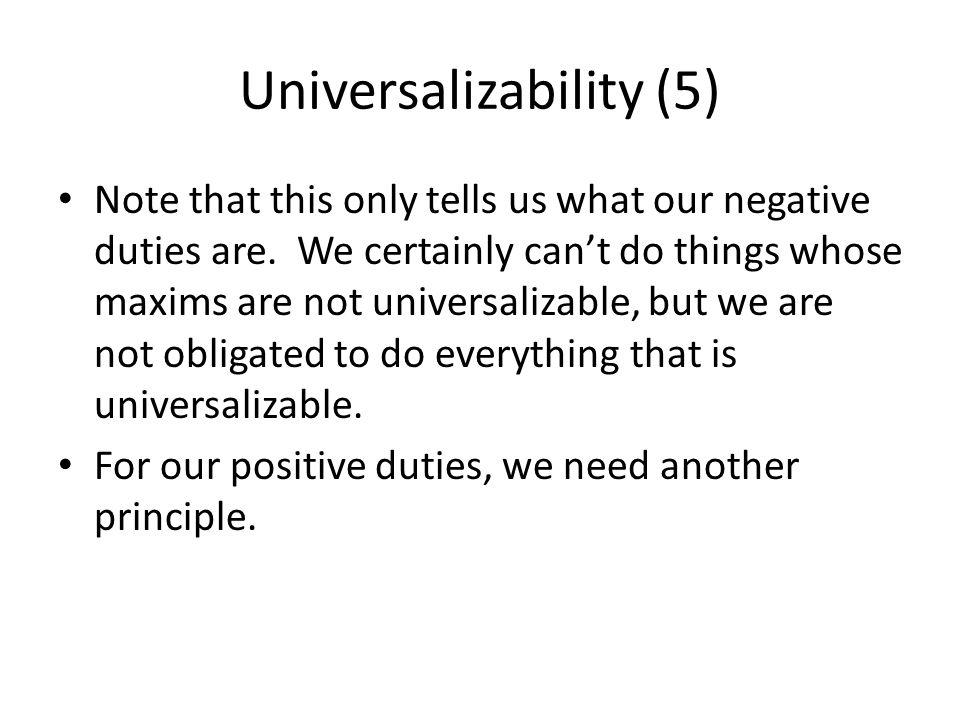 Universalizability (5)