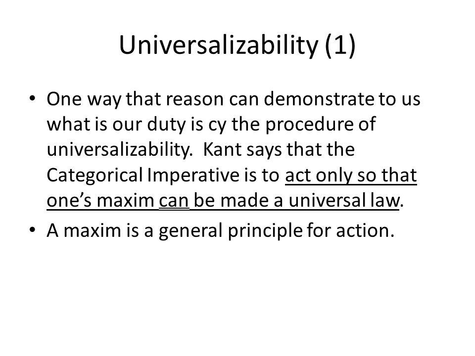 Universalizability (1)