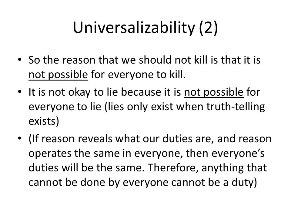 Universalizability (2)