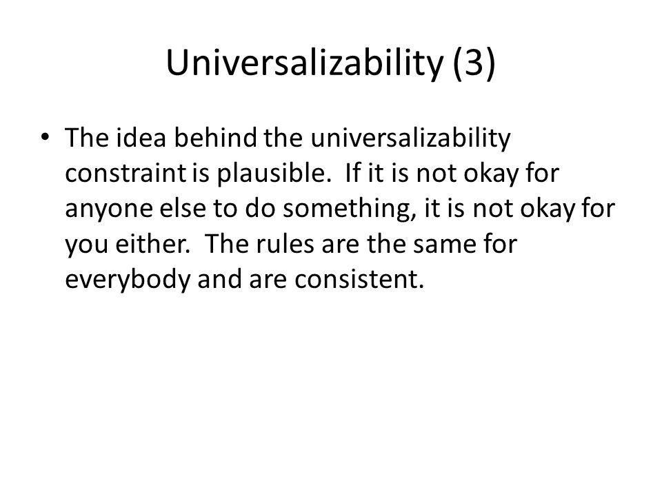 Universalizability (3)