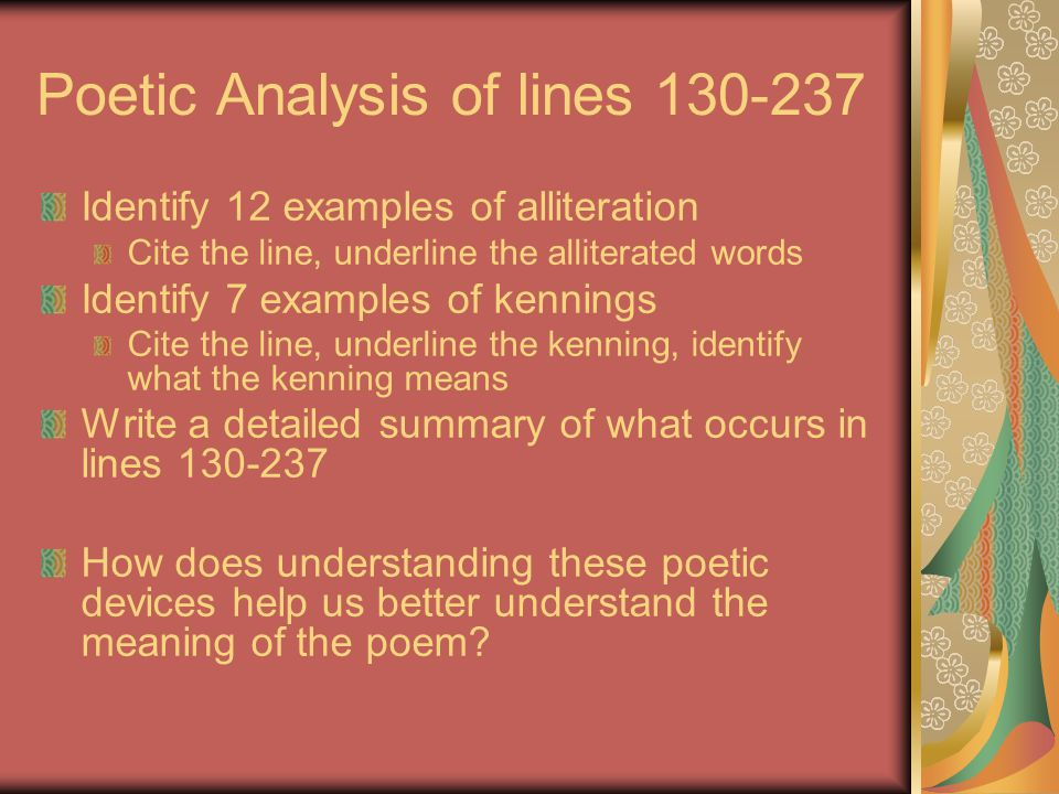 Poetic Analysis of lines 130-237