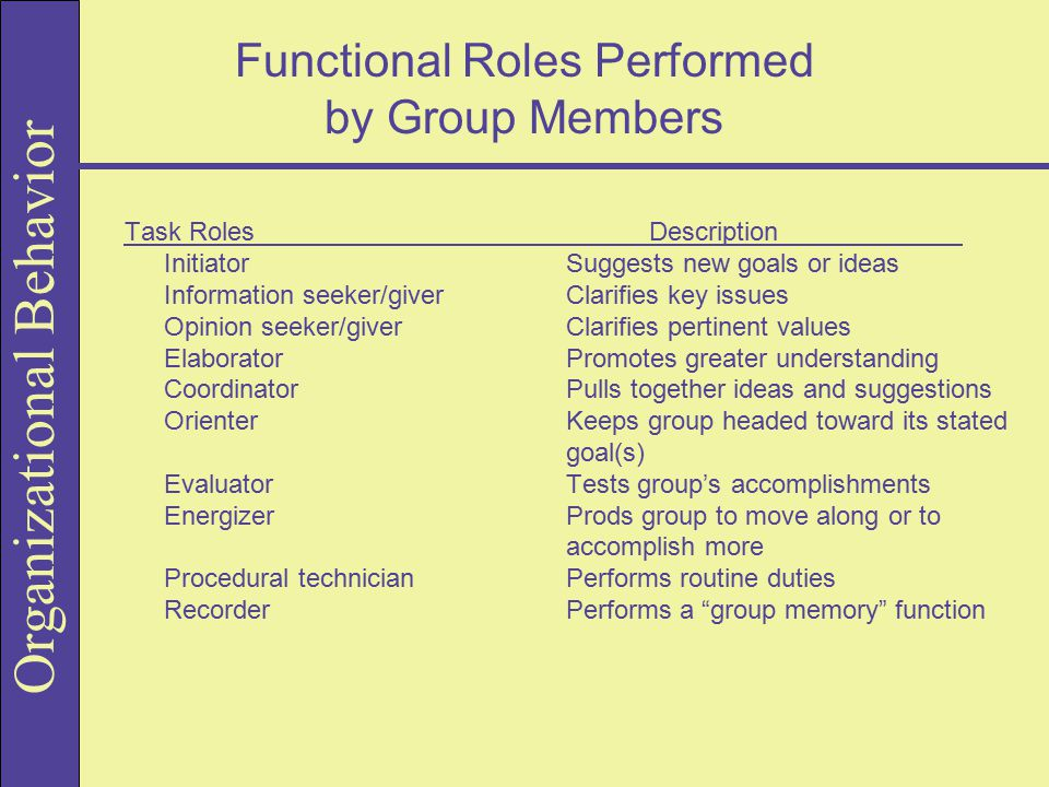 Functional Roles Performed by Group Members