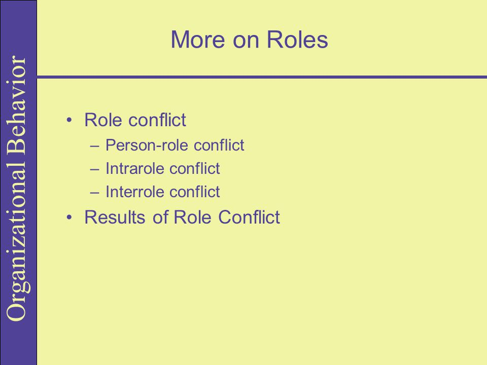 More on Roles Role conflict Results of Role Conflict