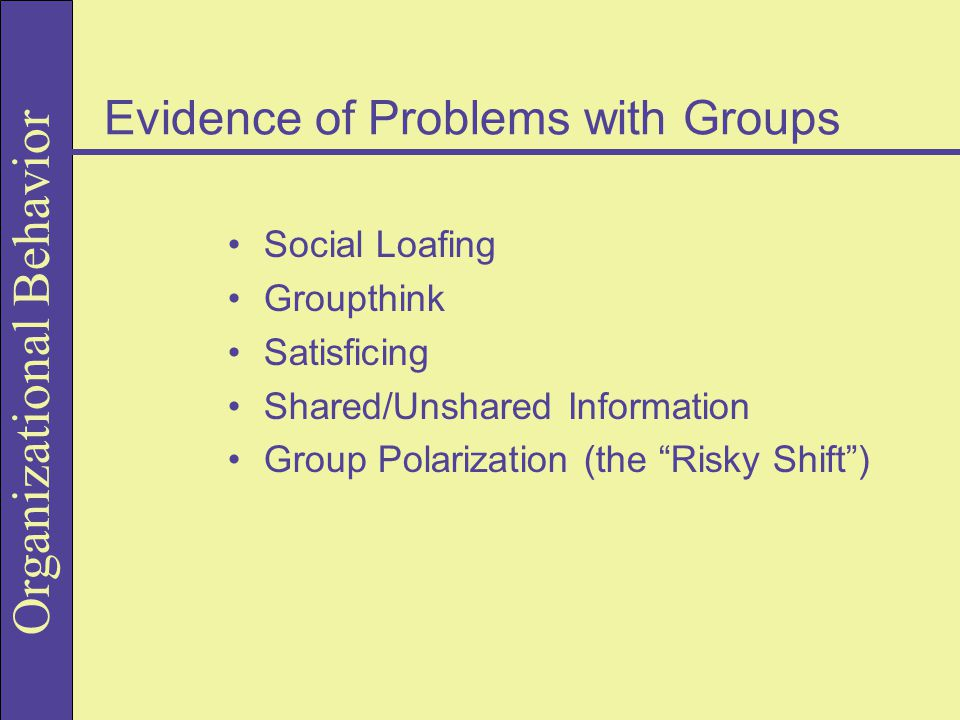 Evidence of Problems with Groups