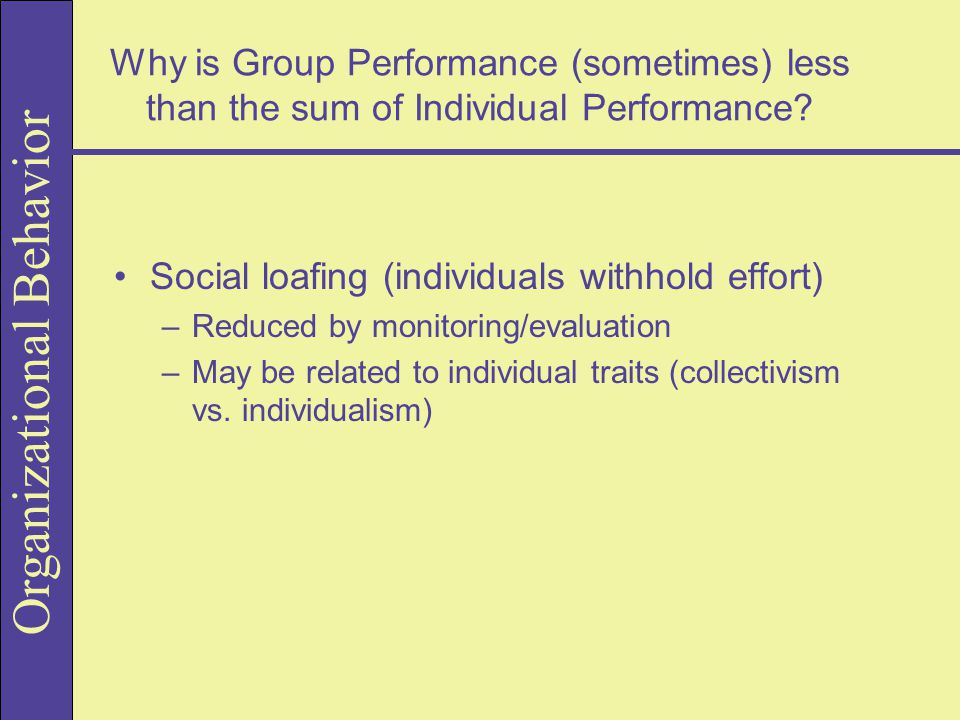 Social loafing (individuals withhold effort)
