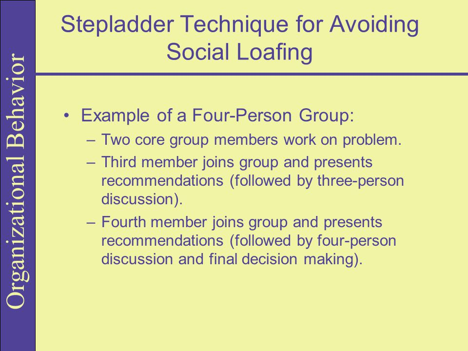 Stepladder Technique for Avoiding Social Loafing
