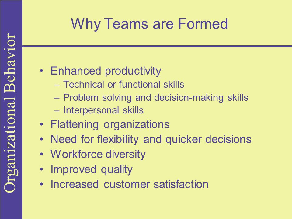 Why Teams are Formed Enhanced productivity Flattening organizations