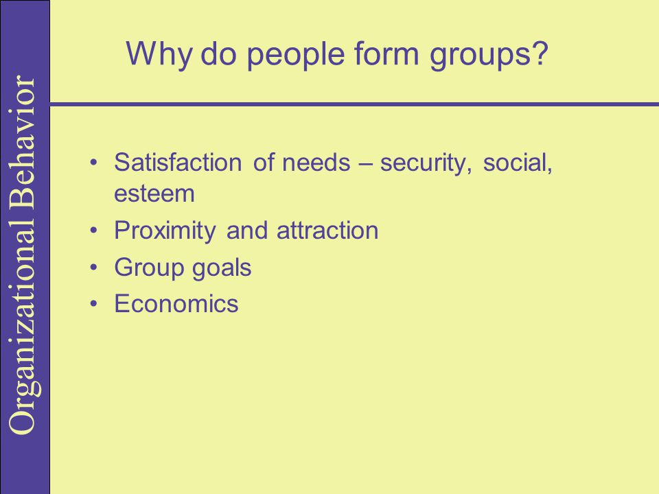 Why do people form groups