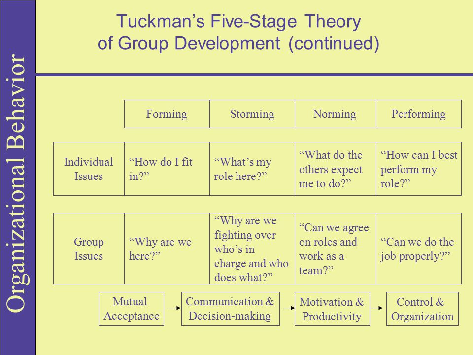 Tuckman's Five-Stage Theory of Group Development (continued)
