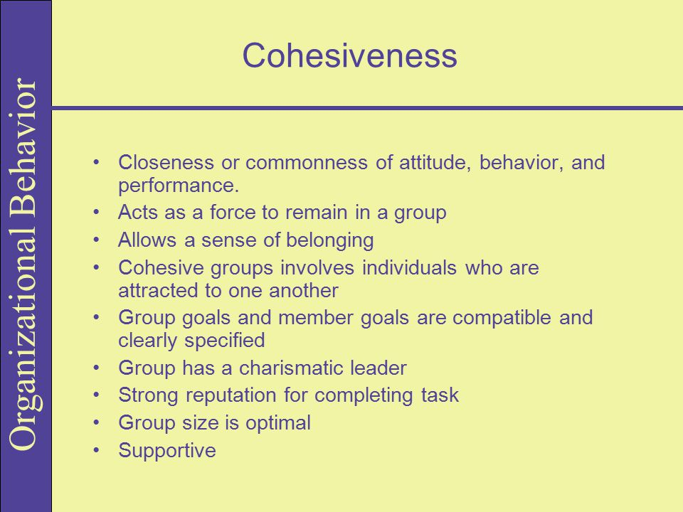 Cohesiveness Closeness or commonness of attitude, behavior, and performance. Acts as a force to remain in a group.