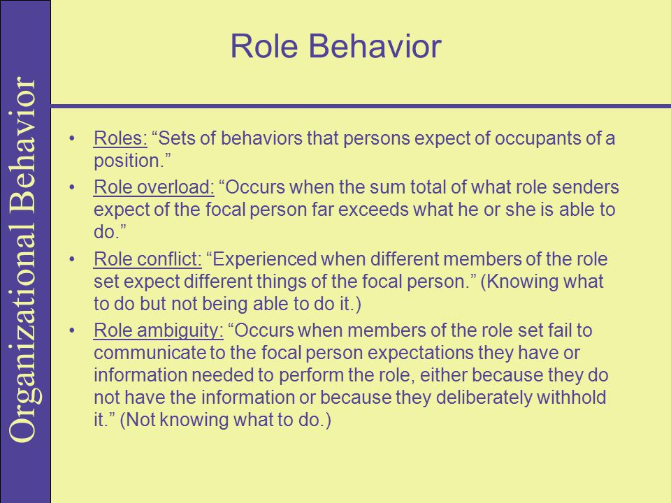 Role Behavior Roles: Sets of behaviors that persons expect of occupants of a position.