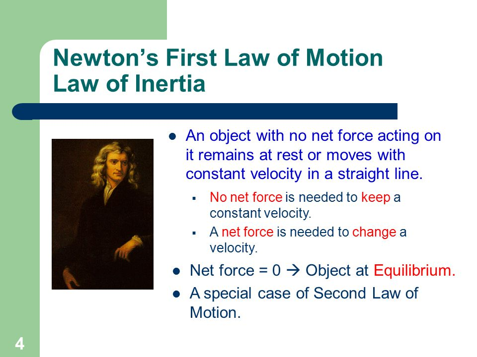 Newton's First Law of Motion Law of Inertia