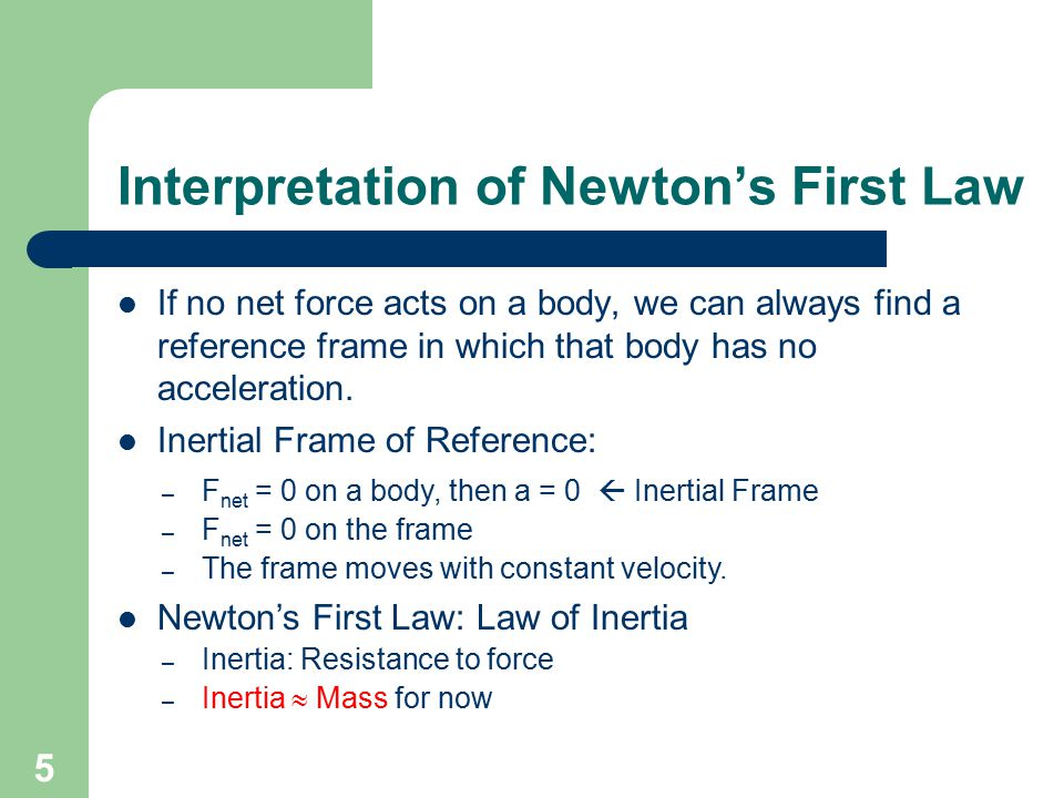Interpretation of Newton's First Law