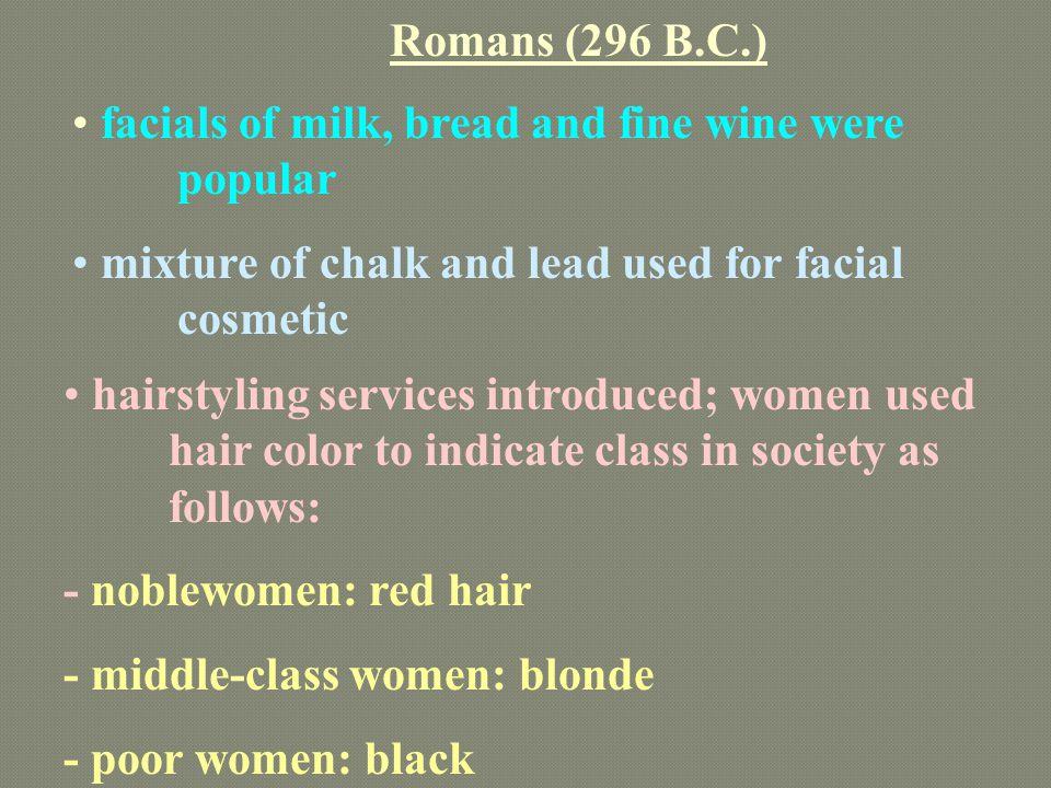 Romans (296 B.C.) facials of milk, bread and fine wine were popular