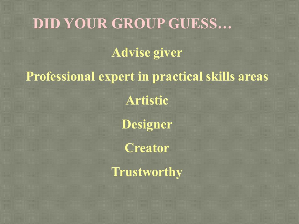 Professional expert in practical skills areas