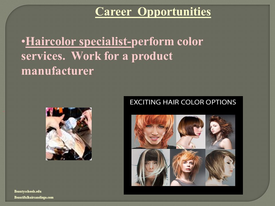 Career Opportunities Haircolor specialist-perform color services. Work for a product manufacturer.