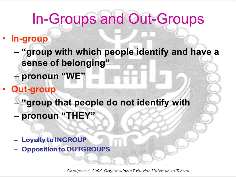 In-Groups and Out-Groups
