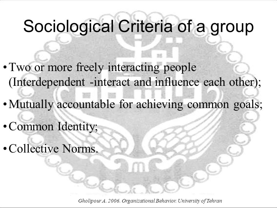 Sociological Criteria of a group