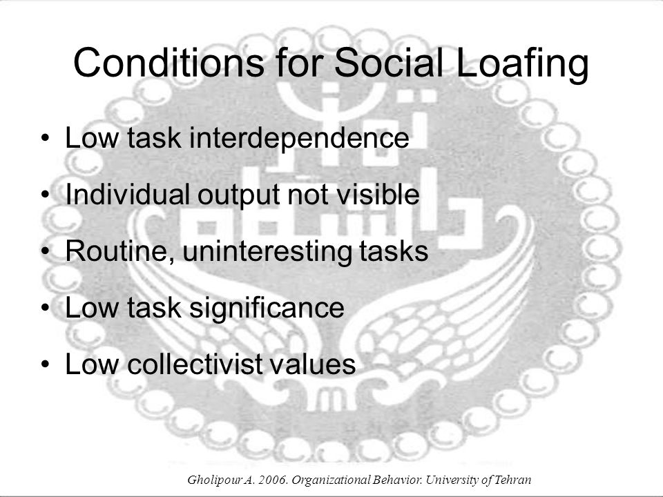 Conditions for Social Loafing