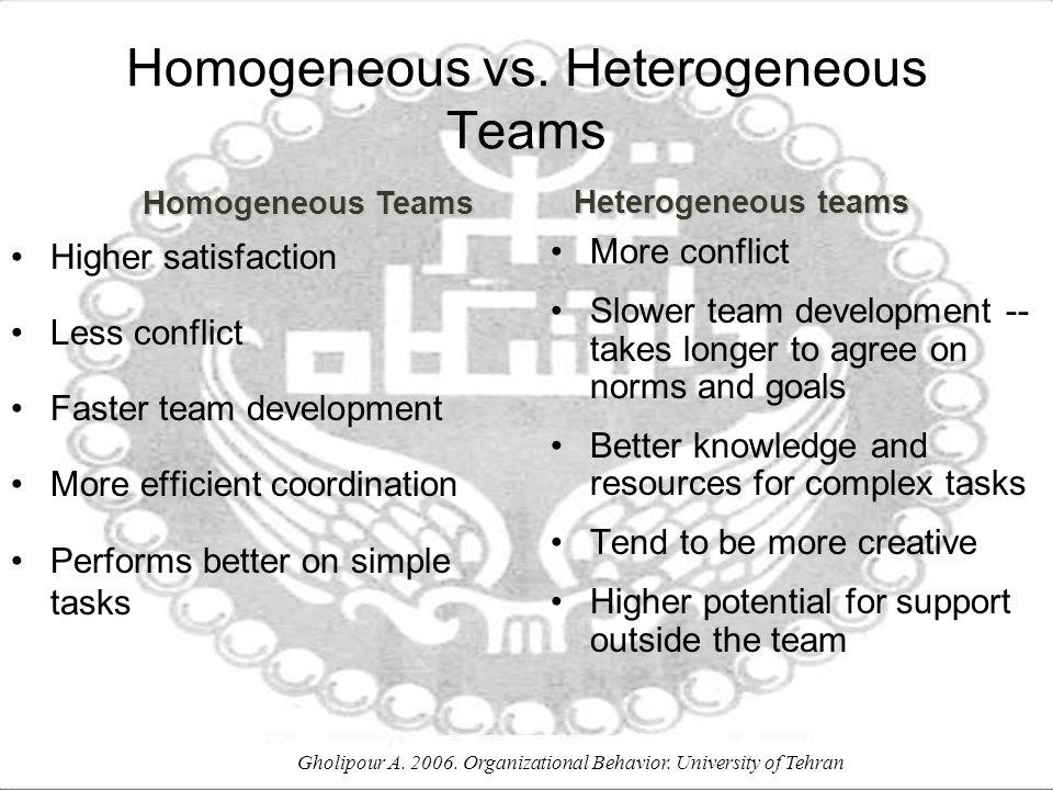 Homogeneous vs. Heterogeneous Teams