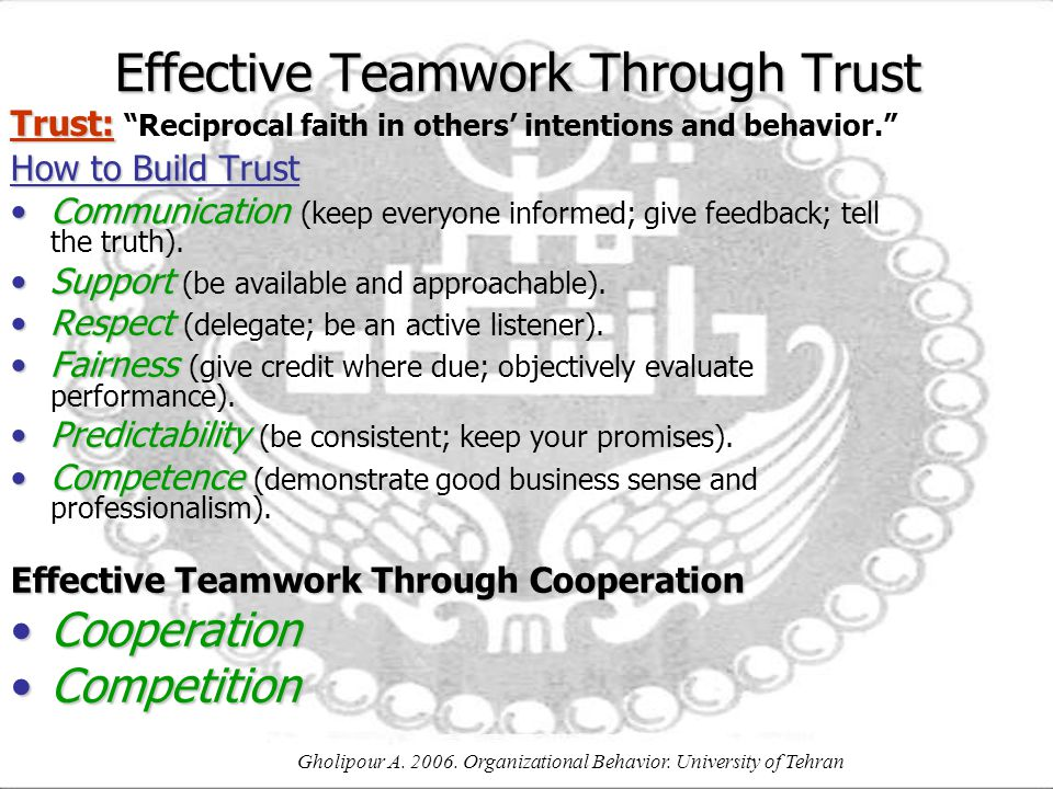 Effective Teamwork Through Trust