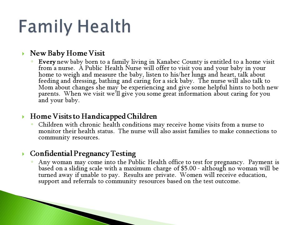 Family Health New Baby Home Visit Home Visits to Handicapped Children