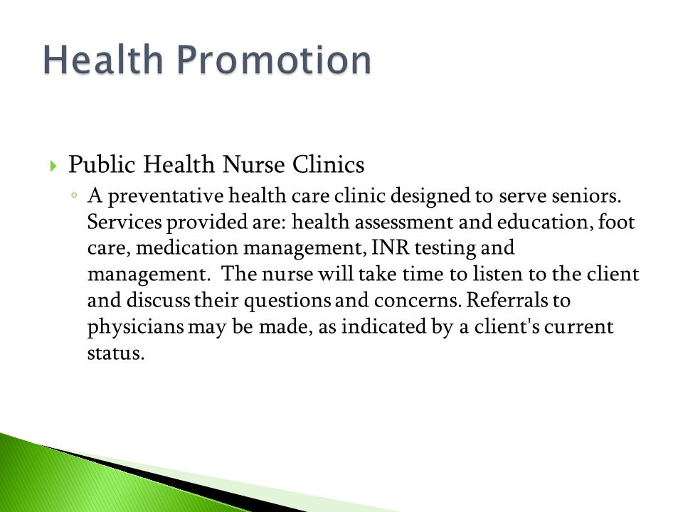 Health Promotion Public Health Nurse Clinics