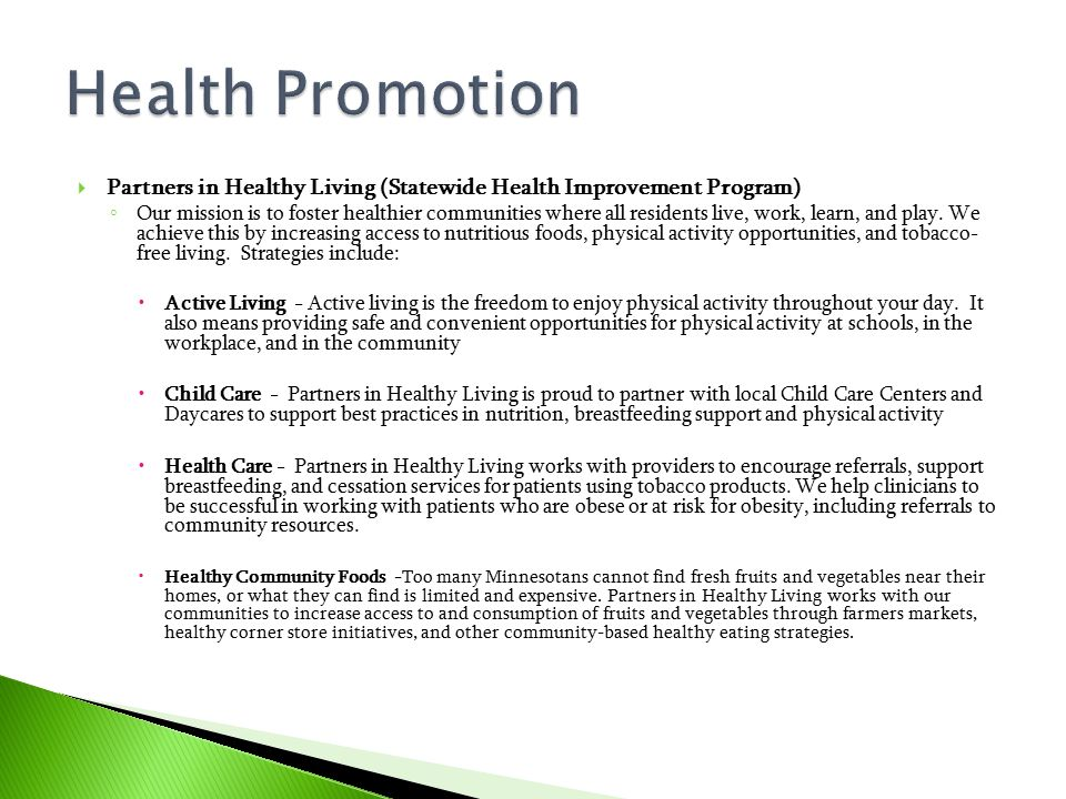 Health Promotion Partners in Healthy Living (Statewide Health Improvement Program)