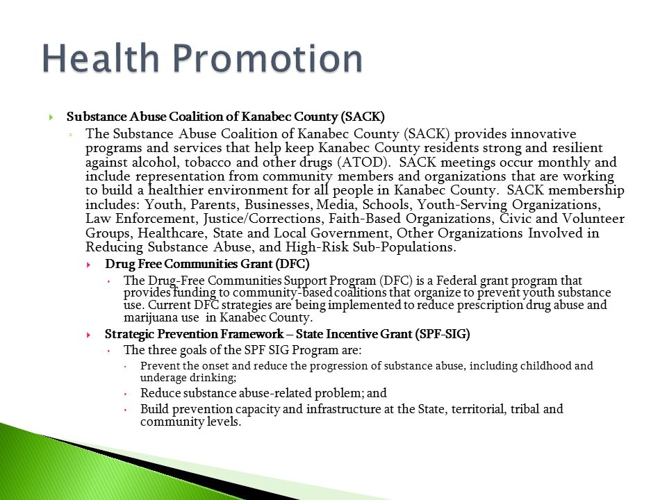 Health Promotion Substance Abuse Coalition of Kanabec County (SACK)