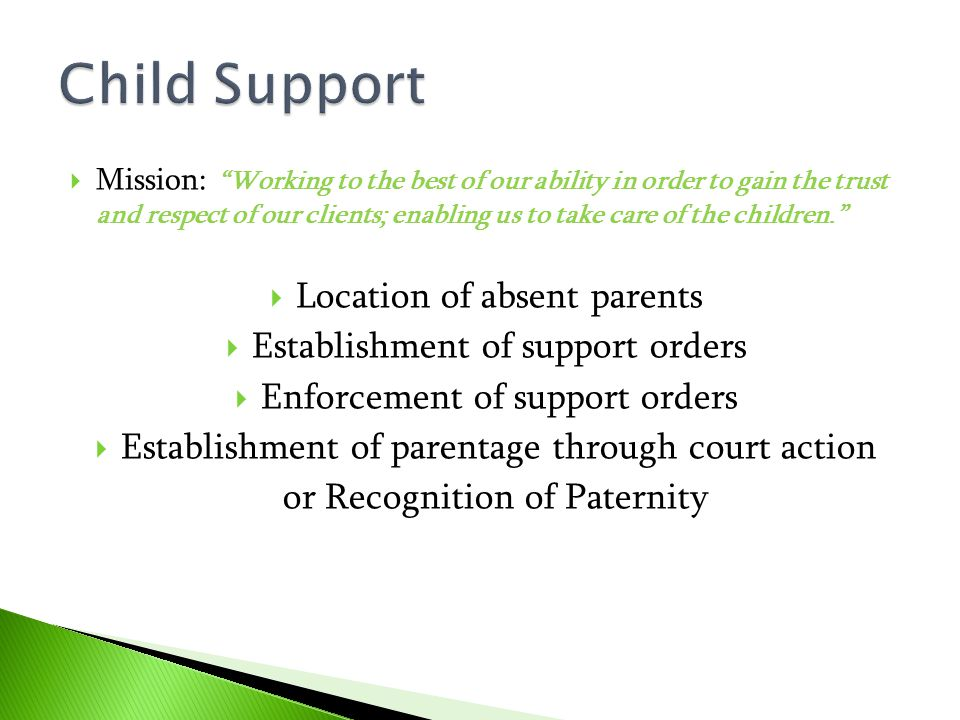 Child Support Location of absent parents
