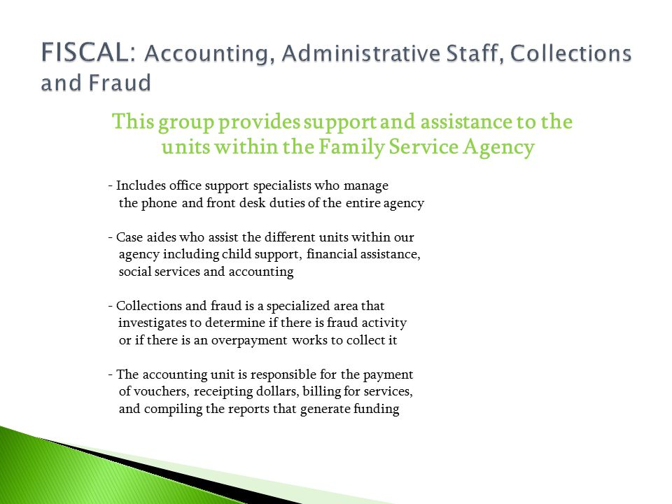 FISCAL: Accounting, Administrative Staff, Collections and Fraud