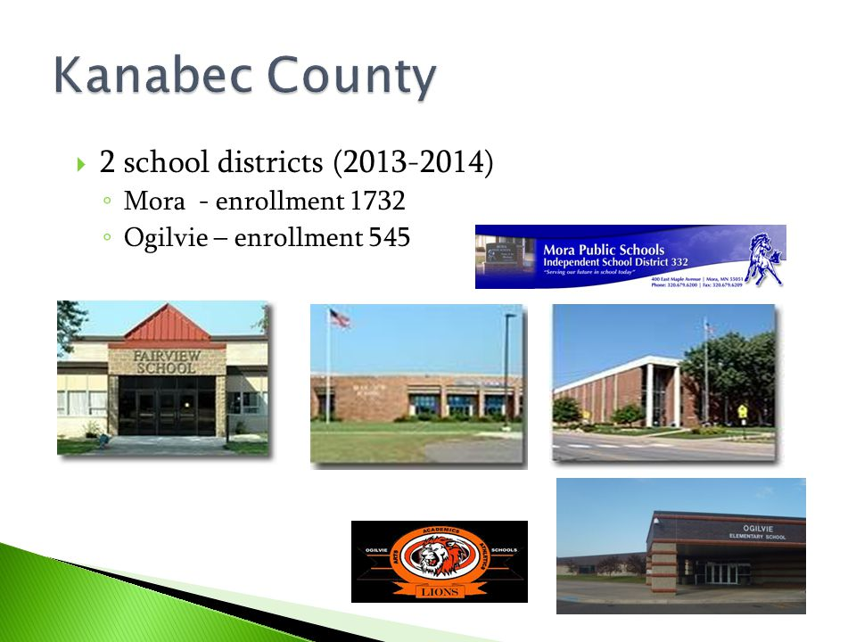 Kanabec County 2 school districts (2013-2014) Mora - enrollment 1732