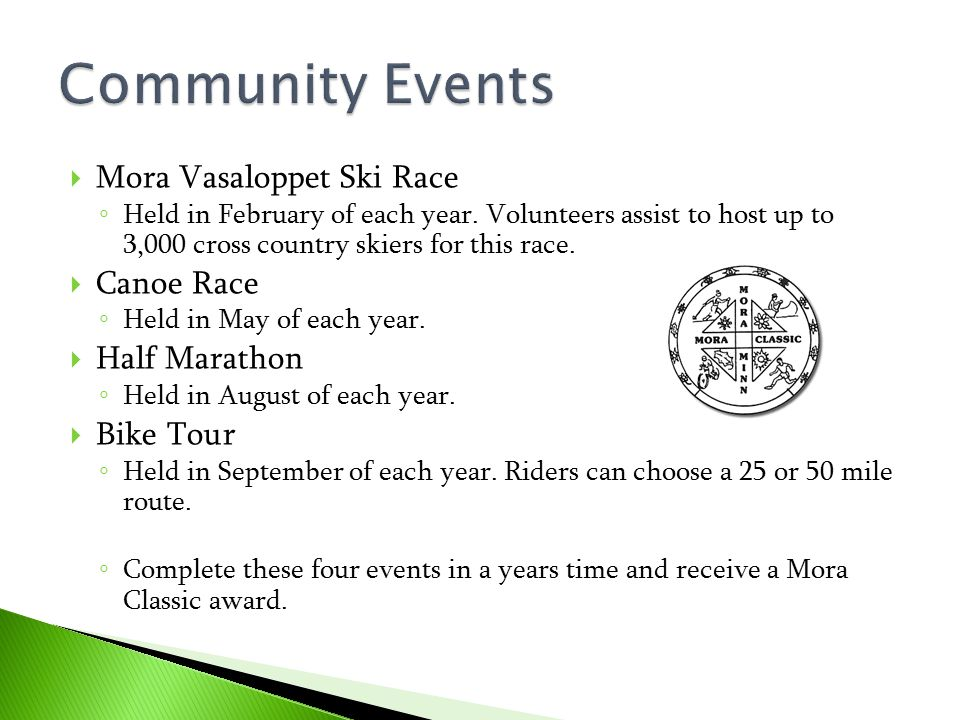 Community Events Mora Vasaloppet Ski Race Canoe Race Half Marathon