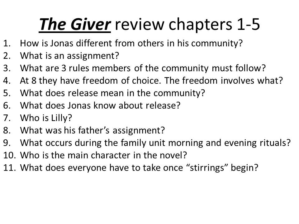 a review of my assignment on the giver book Download the app and start listening to the giver each twelve-year-old receives a life assignment determined this book my 5th grade little.